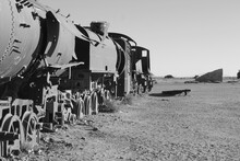 Abandoned Train In The Middle Of The Desert