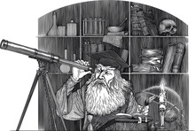 Black And White Vector Drawing Of Of An Ancient Astronomer Looking To Telescope