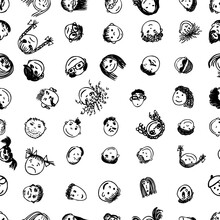 People's Faces Set. Drawing Line. Seamless Background. Vector Illustration
