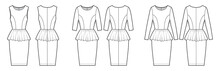 Set Of Dresses Peplum Technical Fashion Illustration With Long Elbow Sleeves, Fitted Body, Knee Length Sheath Skirt, Round Neck. Flat Apparel Front, Back, White Color Style. Women, Unisex CAD Mockup