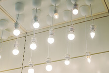 Rows Of Hanged Led Glowing Light Bulbs In Shop Market