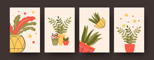 Set Of Contemporary Posters With Different Potted Plants. Aloe And Flowers In Pots Pastel Vector Illustrations. Houseplants Concept For Kitchen Or Living Room Designs, Social Media, Postcards