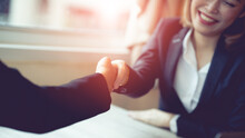 Negotiating Business,Image Business Woman Handshake,happy With Work, Business Woman She Is Enjoying With Her Workmate. Deal Concept