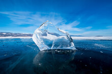 Landscape Of Natural Breaking Ice In Frozen Water On Lake Baikal, Siberia, Russia.