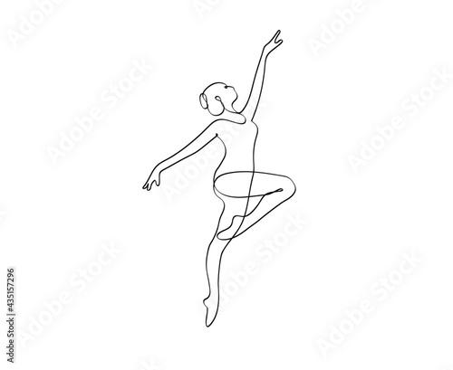 Fotografiet Ballet Dancer ballerina in Continuous Line Art Drawing. Vector