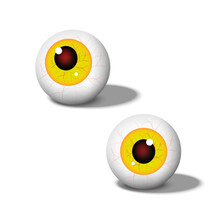 Eyeballs. Abstract Set Of An Eyeball With Yellow Iris Isolated On White Background. Anatomy Body Human. Halloween Concept. Design Horror, Creepy, Evil, Devil. Vector Illustration.
