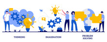 Thinking, Imagination, Problem Solving Concept With Tiny People. Brain Activity Abstract Vector Illustration Set. Brainstorming, Idea And Fantasy, Motivation And Inspiration, Find Solution Metaphor