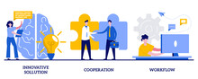 Innovative Solution, Cooperation, Workflow Concept With Tiny People. Effective Work Abstract Vector Illustration Set. Creative Ideas Generation, Team Building, Productivity Management Metaphor