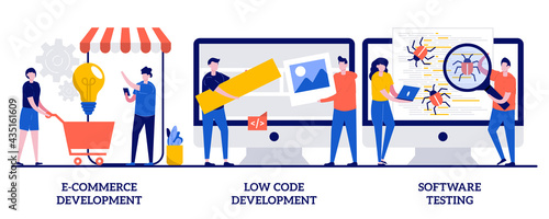 Foto E-commerce development, low code development, IT software testing concept with tiny people
