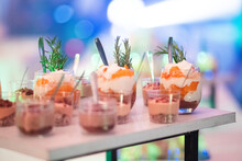 Rich And Colorful Desserts Elegantly Served In Individual Glasses.