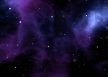 Abstract Night Sky Background With Nebula