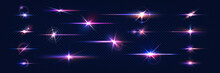Sparkle Light. Lens Flares. Realistic Shine Effect. Glowing Stars And Camera Flashes. Glittering Elements Set With Blue And Violet Gradient. Bright Starlight. Vector Blinding Glares