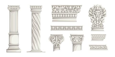 Greek columns. Ancient Roman architecture decorative elements. Antiqua Corinthian pillars or wall ornaments. Carved marble construction decor. Vector stone parts of historical buildings