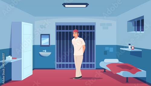 Fotografia Lawbreaker in prison cell