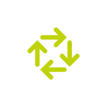 Four Green Arrows Circle. Cycle, Recycle, Refresh.