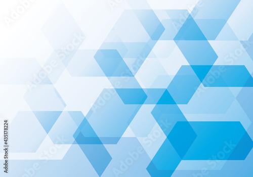 重なる六角形のブルーのグラデーションの背景イメージイラスト Fototapet