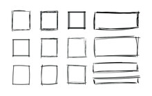 Vector Hand Drawn Squares Set, Blank Frames Set, Black Scribble Geometric Shapes Isolated On White Background.