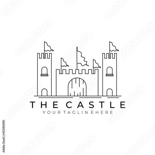 Canvastavla castle logo line art vector illustration design minimalist modern