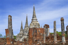 Ancient Thai Style Chedi Or Pagoda In Ayutthaya Historical Park In Ayutthaya Province, Thailand, Public Domain