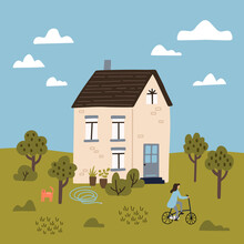 Summer Landcape. Hand Drawn Vector Illustration. Cute House With A Garden. Woman Riding Bysicle