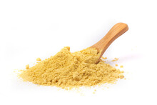 Powder Mustard With Wooden Spoon Isolated On A White Background.
