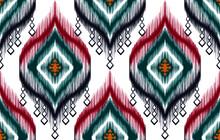 Ornament Indian Tribal Seamless Pattern Design. Ikat Aztec Fabric Carpet Mandala Ornament Native Boho Chevron Textile Decoration Patterns. Geometric Carpet African American Pattern Vector Illustration