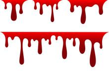 Blood Drip Cartoon Set. Halloween Bloodstain Isolated White Background. Splatter Stain. Horror Drop Flow. Red Scare Ink. Blot Texture. Colorful Splash. Stream Bleed. Flowing Liquid Vector Illustration