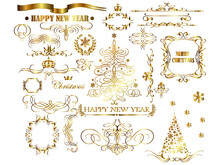 Christmas Gold Calligraphic Decorative Elements Vector