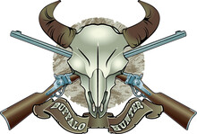 Bison Skull With Crossed Rifles And Banner With Text Buffalo Hunter