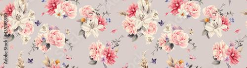 Billede på lærred Seamless floral pattern with flowers on summer background, watercolor illustration