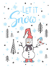 Let It Snow Xmas Winter Merry Christmas Greeting Card With Snowman And Bird In The Cartoon Forest
