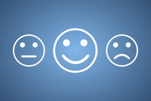 Choosing A Happy Smile On Your Face, Good Feedback Rating And Positive Customer Feedback, Experience, Satisfaction Survey, Mental Health Assessment, World Mental Health Day Concept