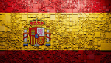 Flag Of Spain Rendered In A Futuristic 3D Style. Spanish Innovation Concept. Tech Background.