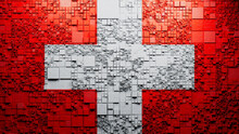 Flag Of Switzerland Rendered In A Futuristic 3D Style. Swiss Innovation Concept. Tech Background.