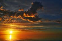 Beautiful Sunset Above The Sea. Amazing Sundown