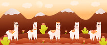 Colourful Mountains Landscape With Cute Llamas Characters And Cactuses, Banner For Travelling, Wild Nature