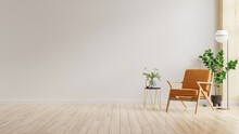 Living Room Interior Wall Mockup In Warm Tones With Leather Armchair On White Wall Background.