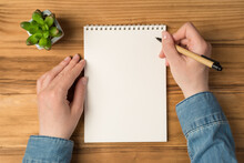 Overhead Photo Of Empty Notepad Hands With Pen And Flowerpot Isolated On Wooden Backdrop