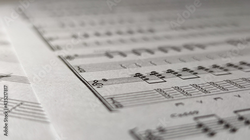 Fotografiet Classic sheets with music notes, music notes background.
