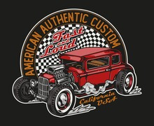 Custom Car Vintage Colorful Print