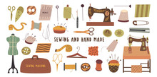 Set Of Elements For Hand Made And Sewing. Needle And Thread, Scissors And Thimble, Sewing Machine And Fabric, Ripper And Zipper, Centimeter And Button. Colorful Vector Illustration Hand Drawn Isolated