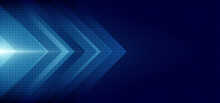 Abstract Blue Arrow Glowing With Lighting And Line Grid On Blue Background Technology Hi-tech Concept