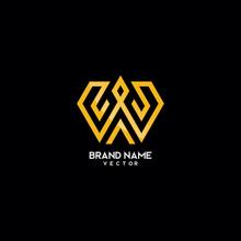 Abstract Gold Monogram W Logo Design