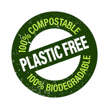 Plastic Free, 100% Compo Stable 100% Biodegradable Vector Icon. Eco Friendly Abstract