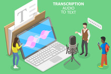 3D Isometric Flat Vector Conceptual Illustration Of Transcription Audio To Text, Automatic Speech Recognition