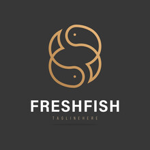 Abstract Fish Logo With Splashing Water, Fresh Fish Icon, Seafood Sign, Fish Trade Business Company.Design Template Aquatic Fishing Symbol, Product Shop.Vector Illustration.