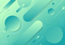 Abstract Trendy Green Gradient Geometric Shape Elements Pattern Composition Background