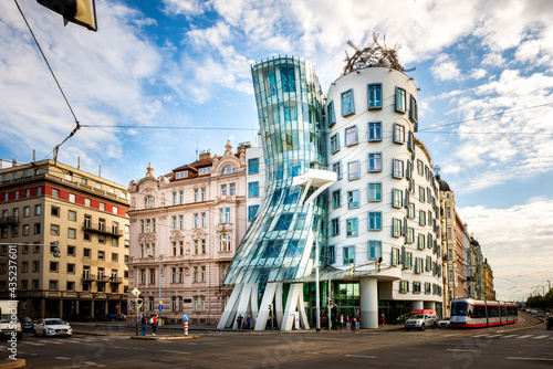 PRAGUE, CZECH REPUBLIC - SEPTEMBER 11, 2019: Dancing house or Fred and Ginger building in downtown Prague, Czech Republic. Built by Vlado Milunic and Frank Gehry in 1992-1996.
