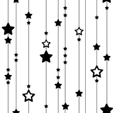 Seamless Pattern Of Lines And Stars. Black And White Vertical Festive Texture For Textile, For Fabric, For Paper. Cute Magic Print With Black Stars Hanging On Lines, On Stripes. New Year, Christmas.