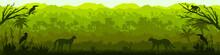 Jungle Forest Vector Silhouette, Green Tropical Nature Background, Amazon Rainforest Panoramic Landscape. Wild Fauna Illustration, Leopard, Monkey, Toucan, Parrot Outline. Jungle Silhouette Banner
